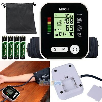 LCD Push Button Automatic Upper Arm Blood Pressure Cuff Monitor w/ Case Kit NEW