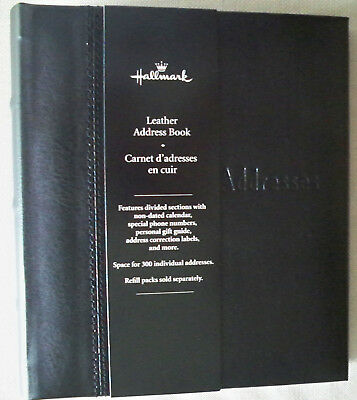 Hallmark Refillable 6-Ring Deluxe Black Leather Address Book