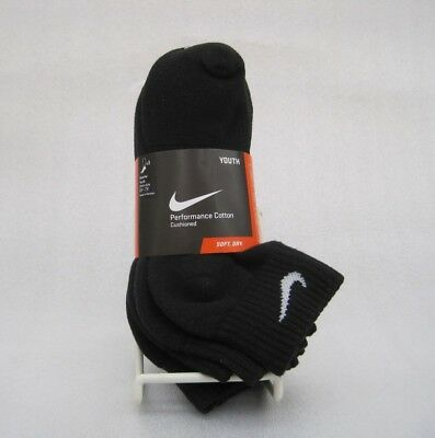NIKE Performance Cotton Cushioned Quarter Socks SX4722-001 3 Pack Sz 5Y-7Y Black