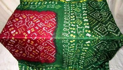 Maroon Green Pure Silk 4 yard Vintage Sari Saree Pretty NR Sale London US #G4E9L