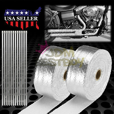 "K 2/"" x 50FT Exhaust Header Fiberglass Heat Wrap Tape w// 5 Steel Ties Purple"