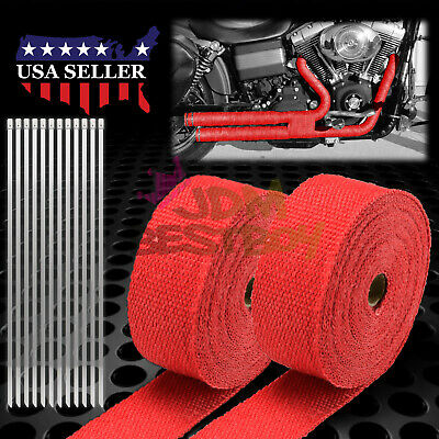 """2 Roll x 2"""" 50FT Orange Exhaust Thermal Wrap Manifold Header Isolation Heat Tape"""