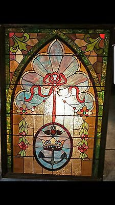 "Vintage Leaded Stained Glass Panel  40"" x 64"" in a Wooden Frame *JUST REDUCED*"