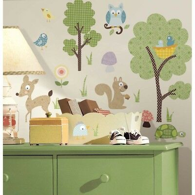 WOODLAND ANIMALS WALL DECALS Set of 89 New Baby Animal Stickers Nursery Decor