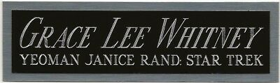 GRACE LEE WHITNEY: JANICE RAND STAR TREK NAMEPLATE AUTOGRAPHED Signed BOOK-PHOTO