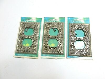 Lot Of 3 New / Nos Edmar Creations Light Touch Outlet Covers Decorated Metal Usa