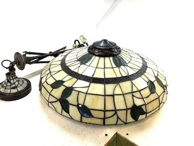 Ceiling Tiffany Style Hanging Lamp Victorian Bronze Finish Stained Glass Shade