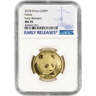 2018 China Gold Panda 15 g 200 Yuan - NGC MS70 Early Releases