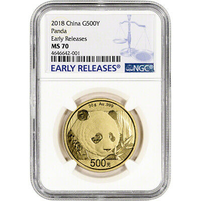 2018 China Gold Panda 30 g 500 Yuan - NGC MS70 Early Releases