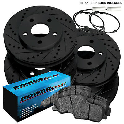 FRONT+REAR DRILLED SLOTTED PERFORMANCE BRAKE ROTORS C7849 BLACK EDITION ELINE