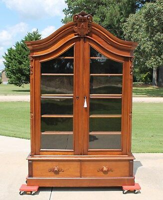 Victorian Walnut Renaissance Revival Bookcase Fancy Crest with Initial A c1870