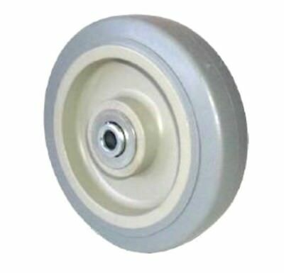 """Gray Soft Rubber (Non Marking) 5""""x1-1/4"""" Wheel with Annular Bearing 3/8"""" ID NEW"""