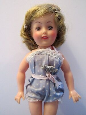 SHIRLEY TEMPLE IDEAL ST-12 DOLL w/ ROMPER SHOES SOCKS NAME PIN & HAIR BOBBY PINS