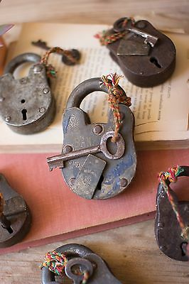 Set of 6  Assorted Antique-Style Iron Decorative Locks with Keys,2.5'' x 4''H.