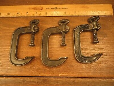 "3 Antique Vintage Cast Iron ""C"" Clamps Skeleton Key Turnbuckle 1 to 2"" Old Tools"