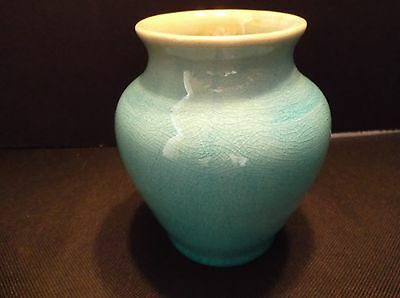 """Pisgah Forest Pottery Small 4 1/8"""" Turquoise Crackle Glaze Vase 1939 North Carol"""