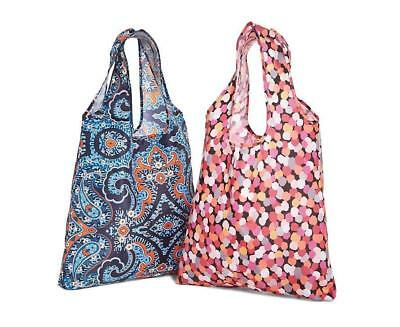 Vera Bradley PACKABLE SHOPPER TOTE BAG Set of 2 Pouch Marrakesh Pixie Confetti