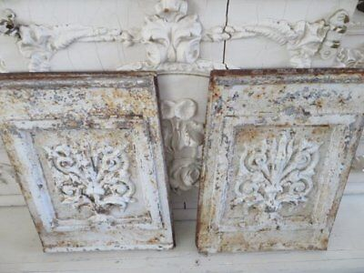 AWESOME PAIR OLD Chippy White ARCHITECTURAL Cast Iron DECOR PIECES PANELS PATINA