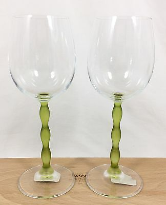 """2 Vtg Mikasa Crystal Wine Goblets FROSTED GREEN Pearl STEM Clear Glass 8 1/4"""""""