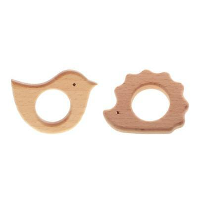 2pcs Natural Beech Wood Beads Baby Nursing Teether Toy DIY Jewelry Necklace