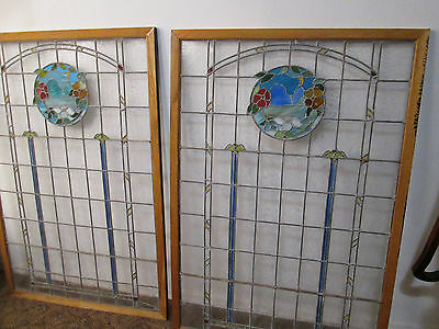 57995 + 57996 Pair of Leaded Stained Glass Windows in Wood Frame circa 1940