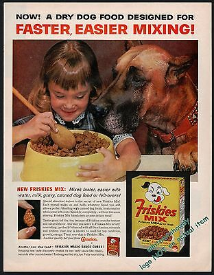 1963 Fawn GREAT DANE w/ Little Girl, Child Friskies Dog Food Vintage Photo AD