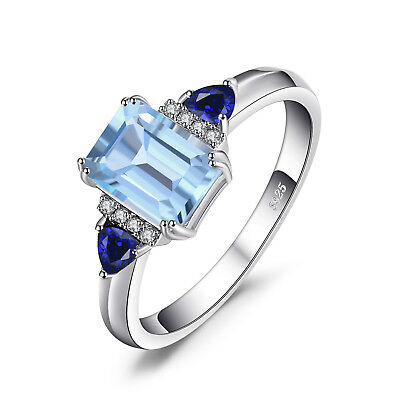 JewelryPalace 1.5ct Genuine Sky Blue Topaz,Created Sapphire Statement Ring