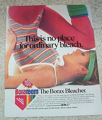 1984 ad page - Exercise Girl in leotard tights pantyhose Borax laundry PRINT AD