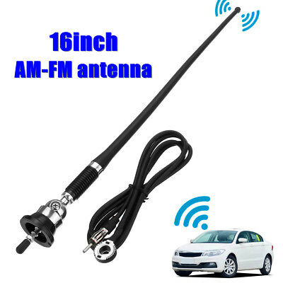 "16"" Universale Antenna Tetto Estensione Set For Auto Radio Am Fm Gommini Nero"