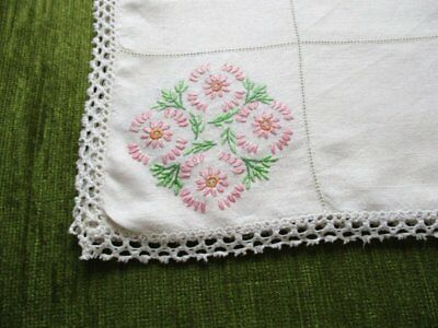 Vintage Linen Tablecloth Hand Embroidered With Flowers - Linen