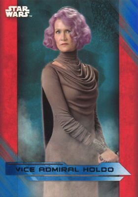 Star Wars Last Jedi Blue Parallel Base Card #29 Vice Admiral Holdo