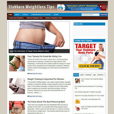 Stubborn Weight Loss Tips Store / Website With Free Domain + Hosting
