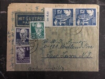 1952 Dresden East Germany DDR Airmail Letter Cover to Fair Lawn NJ USA