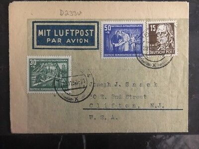 1952 Chemnitz East Germany DDR Airmail Letter Cover to Clifton NJ