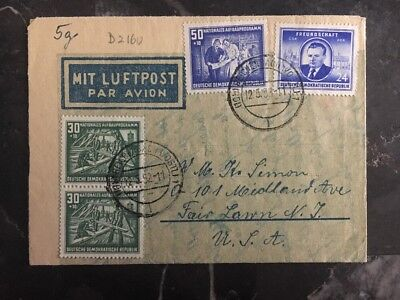 1952 Reichenbach East Germany DDR Airmail Letter Cover to Fair Lawn NJ USA