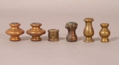 Vintage Lot Of 6 Assorted Solid Brass Lamp Spacers Various Sizes