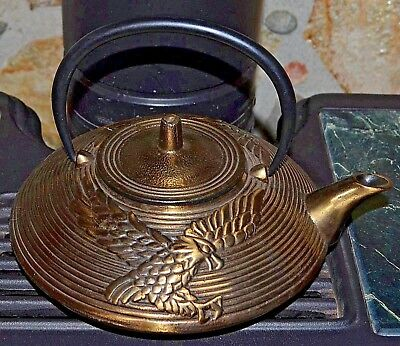 Japanese Golden Eagle Teapot Cast Iron Bronze Tea Kettle W/ Stainless Strainer