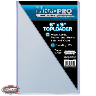 """25 - ULTRA PRO 6"""" x 9"""" Clear Toploader - Postcard Photo Storage Protection!"""