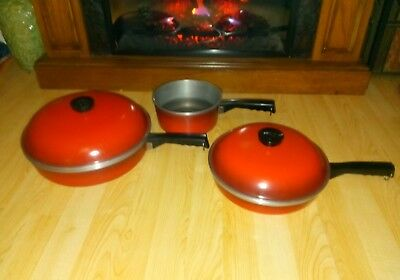 Vintage CLUB CAST ALUMINUM Red Lot 5 Pc Stock Pot large frying pan and skillet w