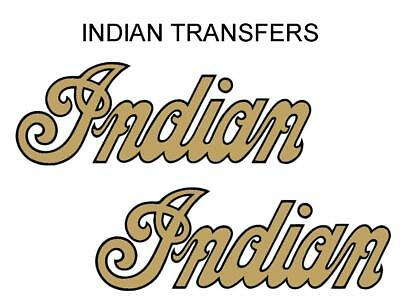 Indian Tank Transfer Decal American Motorcycle Pair D50928 Black Gold Large
