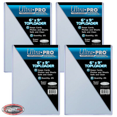 """100 - ULTRA PRO 6"""" x 9"""" Clear Toploader - Postcard Photo Storage Protection!"""