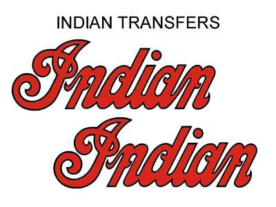 Indian Tank Transfer Decal American Motorcycle Pair D50928 Black Red Large