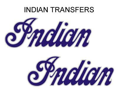 Indian Tank Transfer Decal American Motorcycle Pair D50928 Silver Blue Large