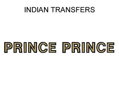 Indian Prince Tank Transfer Decal American Motorcycle Pair D50930 Gold Black