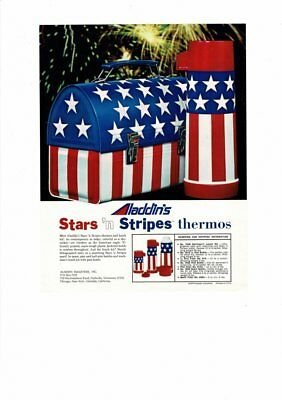 Vintage 1970 Aladdin Stars & Stripes Metal Lunchbox And Thermoses Ad Print