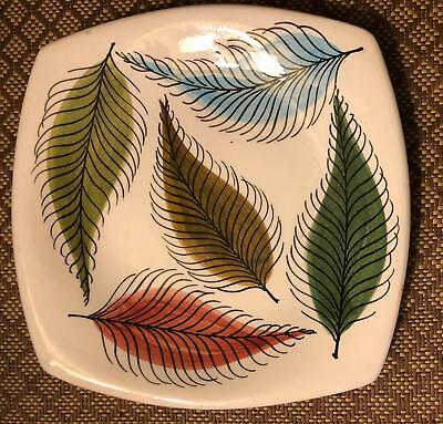 Mid Century Modern Tasca Studio Art Pottery Vintage Square Plate Feathers Italy