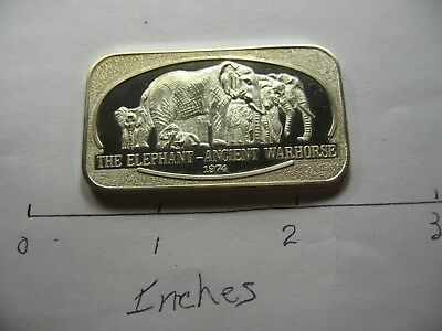 Elephant Ancient Warhorse 1974 Vintage Ussc Mint Rare 999 Silver Bar Cool Item