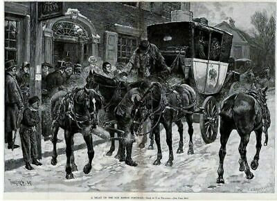Horses Carriage Relay On Old Boston Post Road Horse Harness Reins Passengers