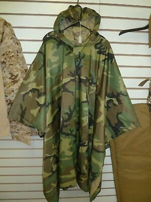 Military Style Woodland Ripstop Wet Weather Rain Poncho Camping Prepper Hiking