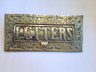 Antique Cast Brass Letterbox Letter Slot Architectural salvage Victorian